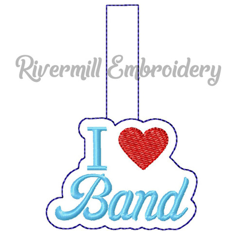 I Heart Band In The Hoop Snap Tab Key Fob Machine Embroidery Design