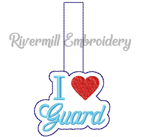 I Heart Guard In The Hoop Snap Tab Key Fob Machine Embroidery Design