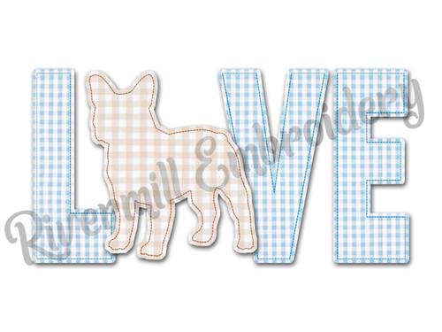 Raggy Applique French Bulldog Love Machine Embroidery Design