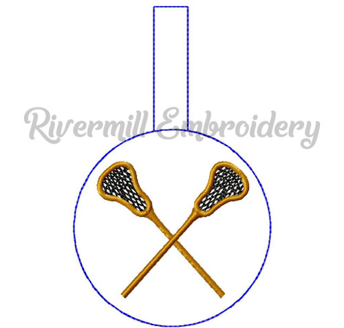 Lacrosse In The Hoop Snap Tab Key Fob Machine Embroidery Design (Style 2)