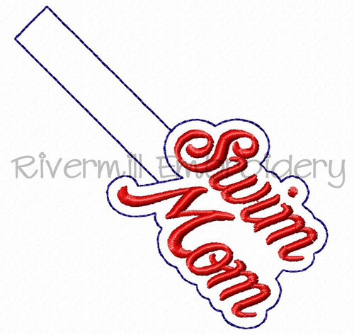 Swim Mom In The Hoop Snap Tab Key Fob Machine Embroidery Design