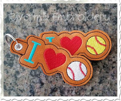 I Heart Baseball / Softball In The Hoop Eyelet Key Fob Machine Embroidery Design