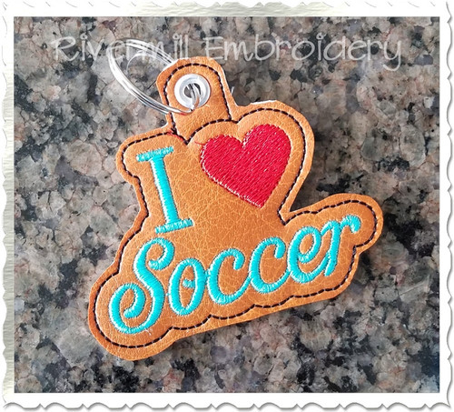 I Heart Soccer In The Hoop Eyelet Key Fob Machine Embroidery Design