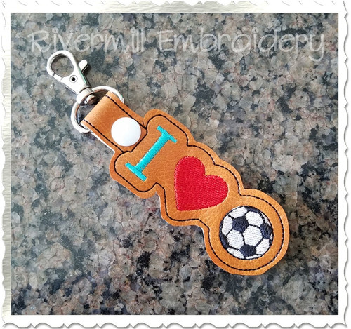 I Heart Soccer In The Hoop Snap Tab Key Fob Machine Embroidery Design