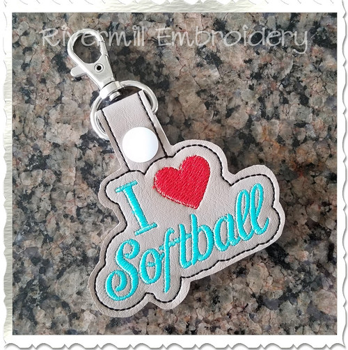 I Heart Softball In The Hoop Snap Tab Key Fob Machine Embroidery Design