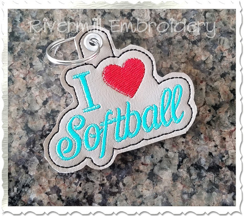 I Heart Softball In The Hoop Eyelet Key Fob Machine Embroidery Design