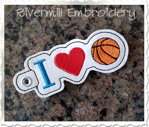 I Heart Basketball In The Hoop Eyelet Key Fob Machine Embroidery Design