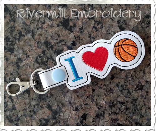 I Heart Basketball In The Hoop Snap Tab Key Fob Machine Embroidery Design