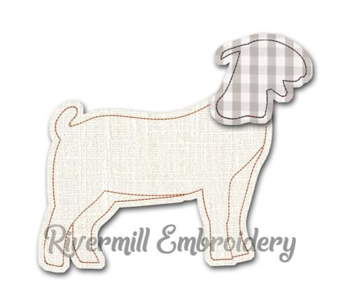 Raggy Applique Show Goat Machine Embroidery Design