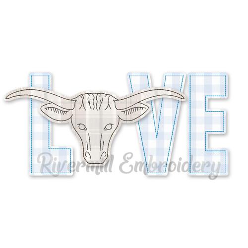 Raggy Applique Longhorn Bull Love Machine Embroidery Design