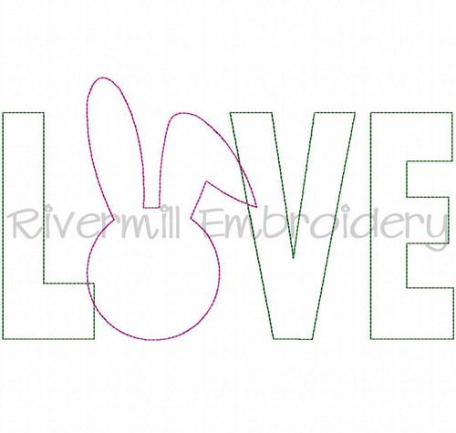 Raggy Applique Bunny Love Machine Embroidery Design