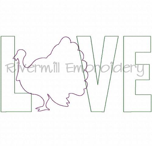 Raggy Applique Turkey Love Machine Embroidery Design