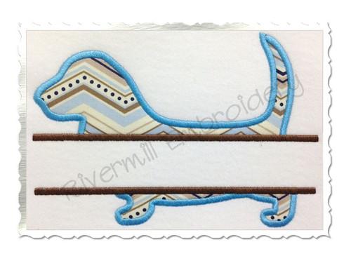 Split Applique Basset Hound Dog Silhouette Machine Embroidery Design