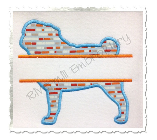 Split Applique Pug Dog Silhouette Machine Embroidery Design