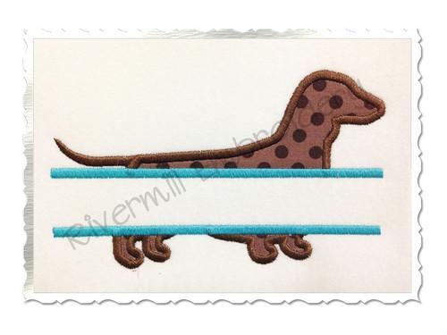 Split Dachshund Applique Machine Embroidery Design