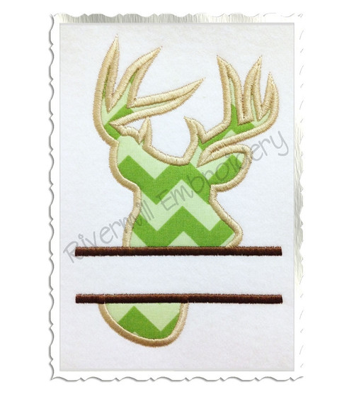 Split Applique Deer Head Buck Silhouette Machine Embroidery Design