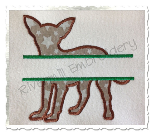 Split Applique Chihuahua Dog Silhouette Machine Embroidery Design