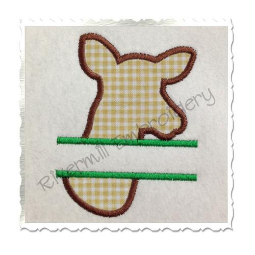 Split Applique Deer Head Doe Silhouette Machine Embroidery Design