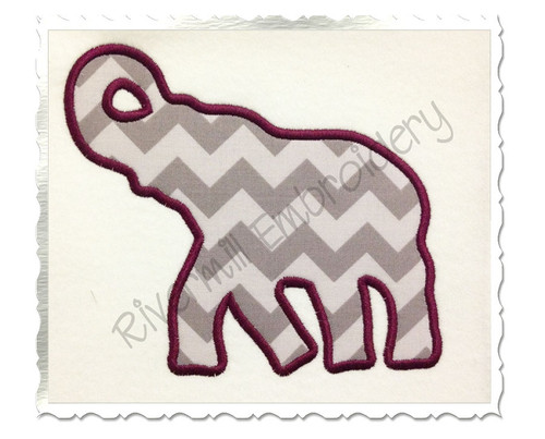 Applique Elephant Silhouette Machine Embroidery Design