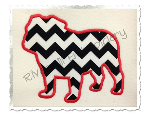 Applique Bulldog Silhouette Machine Embroidery Design