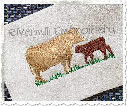 Two Cows Silhouette Machine Embroidery Design
