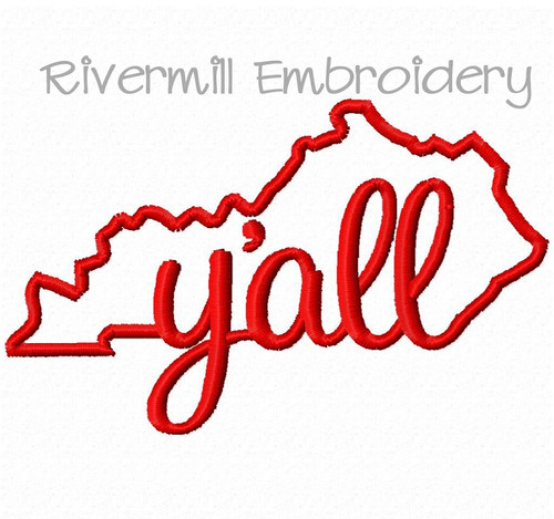 Small Kentucky Y'all Machine Embroidery Design