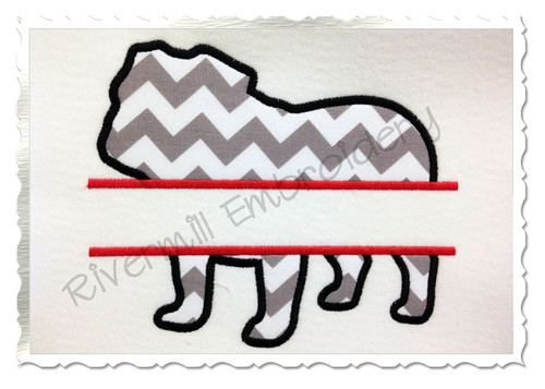 Split Applique Bulldog Silhouette Machine Embroidery Design
