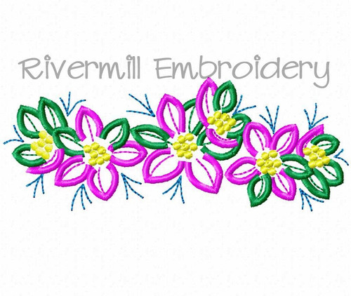Row of Flowers Machine Embroidery Design