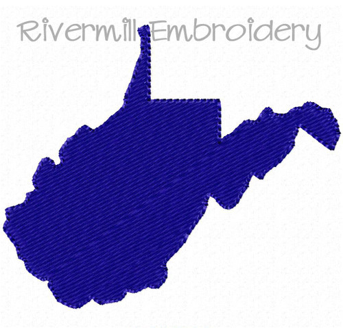 Small Fill Stitched West Virginia Machine Embroidery Design