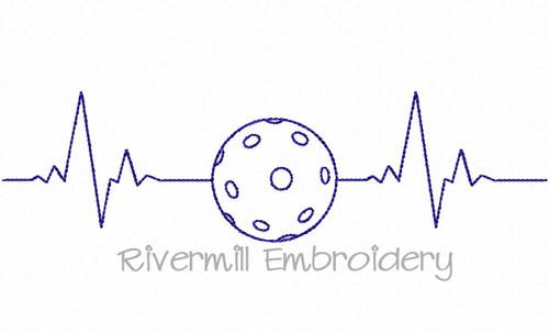 Pickleball Heartbeat Machine Embroidery Design
