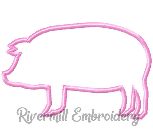 Small Pig Outline Machine Embroidery Design