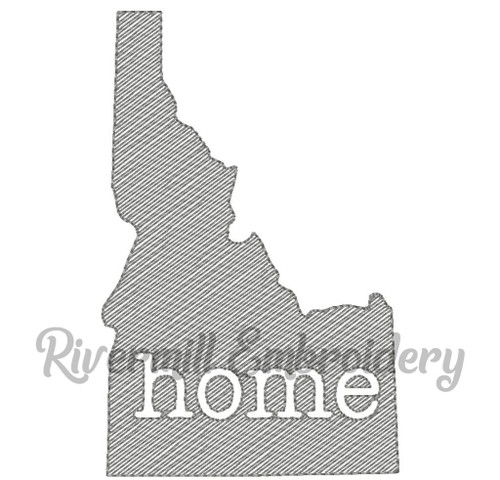 Sketch Style Idaho Home Machine Embroidery Design