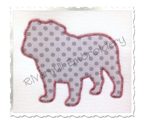 Zig Zag Applique Bulldog Silhouette Machine Embroidery Design