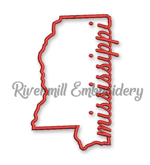 Mississippi Outline Machine Embroidery Design