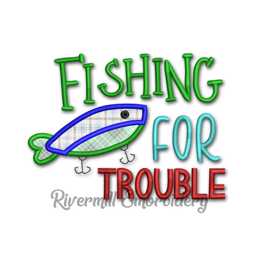 Fishing For Trouble Machine Embroidery Design