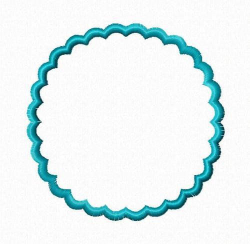 Scalloped Circle Applique Monogram Frame