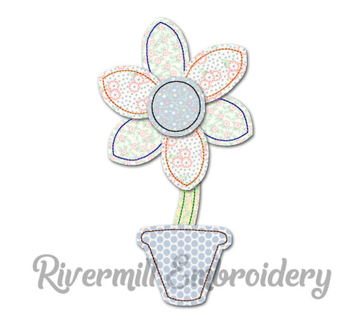Raggy Applique Flower in Flower Pot Machine Embroidery Design