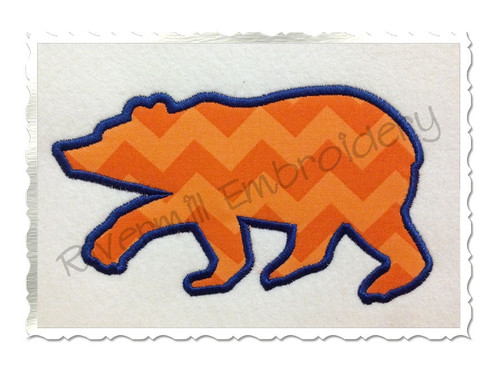 Applique Walking Bear Silhouette Machine Embroidery Design