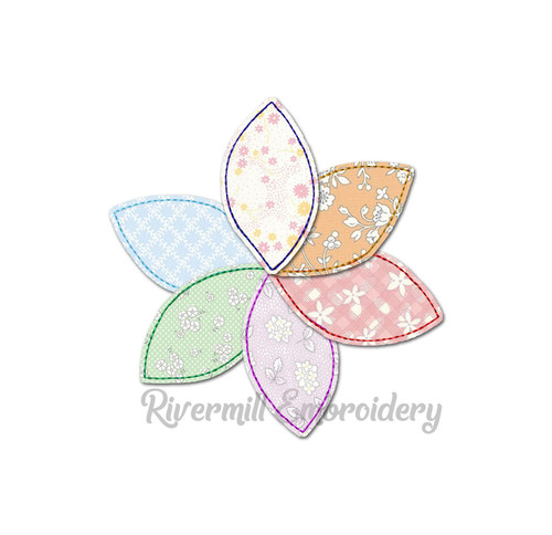 Raggy Applique Pinwheel Quilt Flower Machine Embroidery Design
