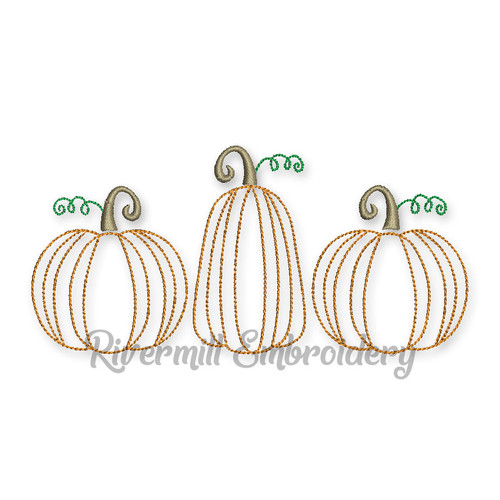 Pumpkins Pumpkin Trio Bean Stitch Machine Embroidery Design