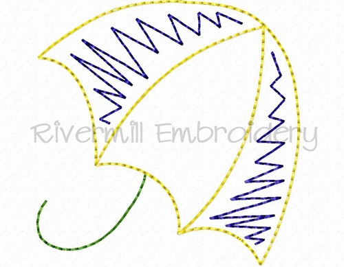 Doodle Umbrella #2 Machine Embroidery Design