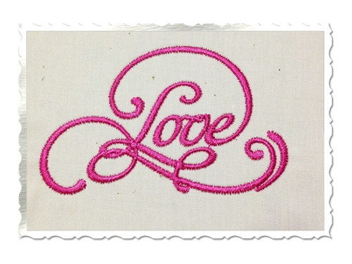 "Elegant ""Love"" Machine Embroidery Word Design"