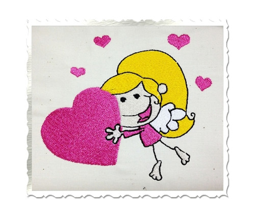 Cupid Girl Holding A Heart Machine Embroidery Design