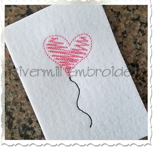 Scribble Hearts Balloon Machine Embroidery Design