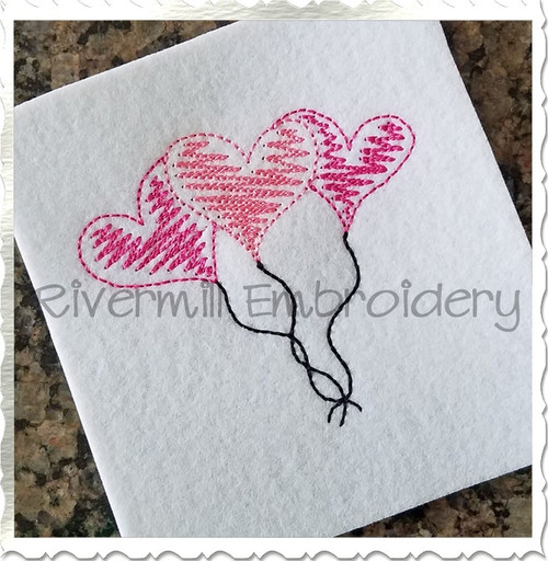 Scribble Hearts Balloon Trio Machine Embroidery Design