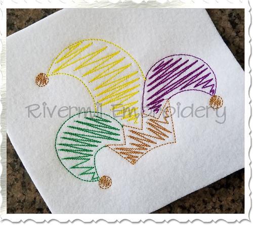 Scribble Jester Hat Machine Embroidery Design