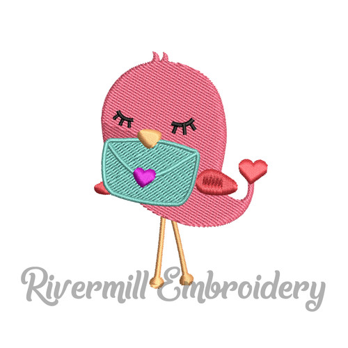 Small Love Bird w/ a Letter Machine Embroidery Design