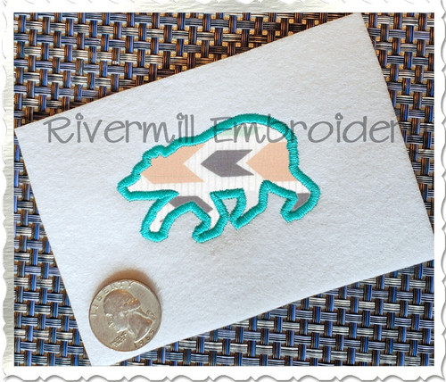 Small Applique Walking Bear Silhouette Machine Embroidery Design
