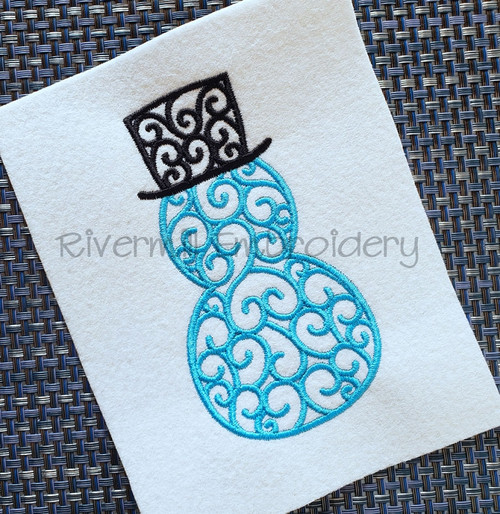 Swirl Snowman Machine Embroidery Design
