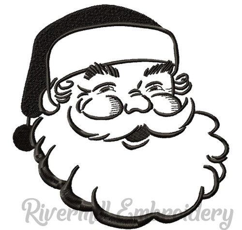 Retro Style Santa Claus Face Machine Embroidery Design